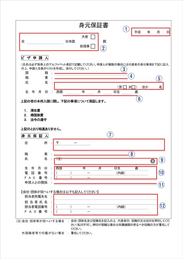 身元保証書の書き方